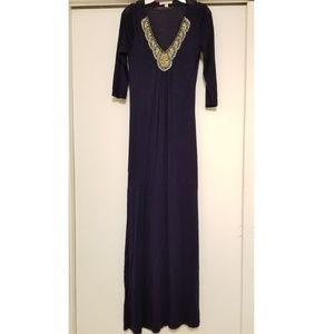Romeo & Juliet Couture navy beaded maxi dress